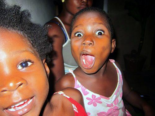 Friends Annemarie and Bless being very excited in Ghana