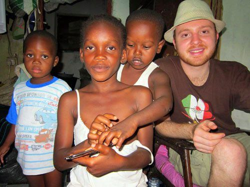 Phil with friends Paul and Felicity in Ghana