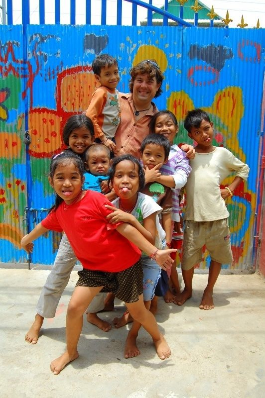 Adam with the kids of Pure Orphanage in Phnom Penh, Cambodia.