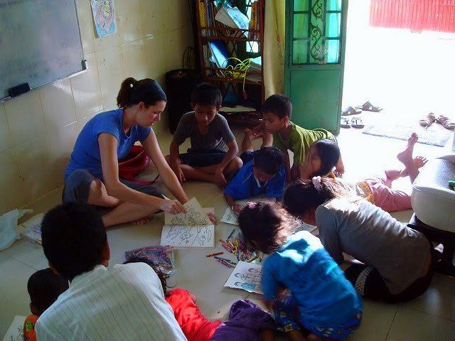 students at the Cambodia orphanage