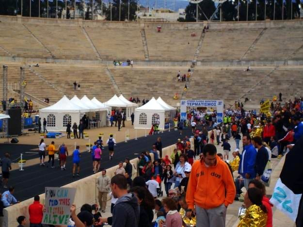 finishing the Marathon in Greece