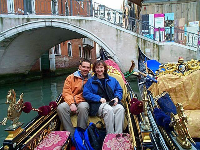 Danny and Tracy on a gondola in Venice, Italy.