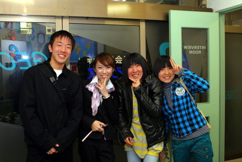 students and school manager in Japan
