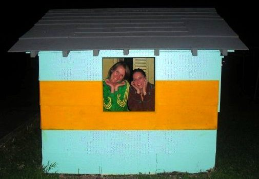 The founders of IDEE in a wee Wendy House.