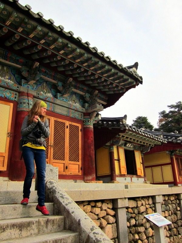 Visiting a beautiful temple in South Korea.