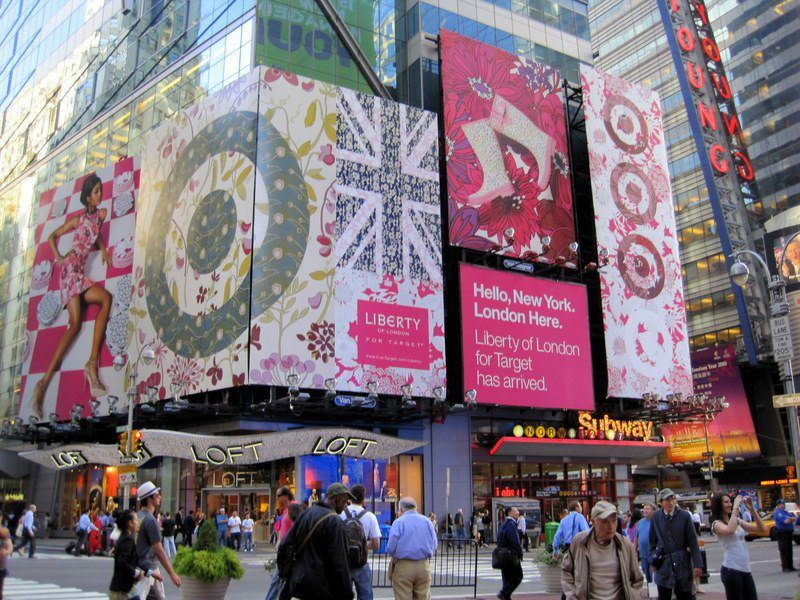 Even the advertisements in Times Square are international...