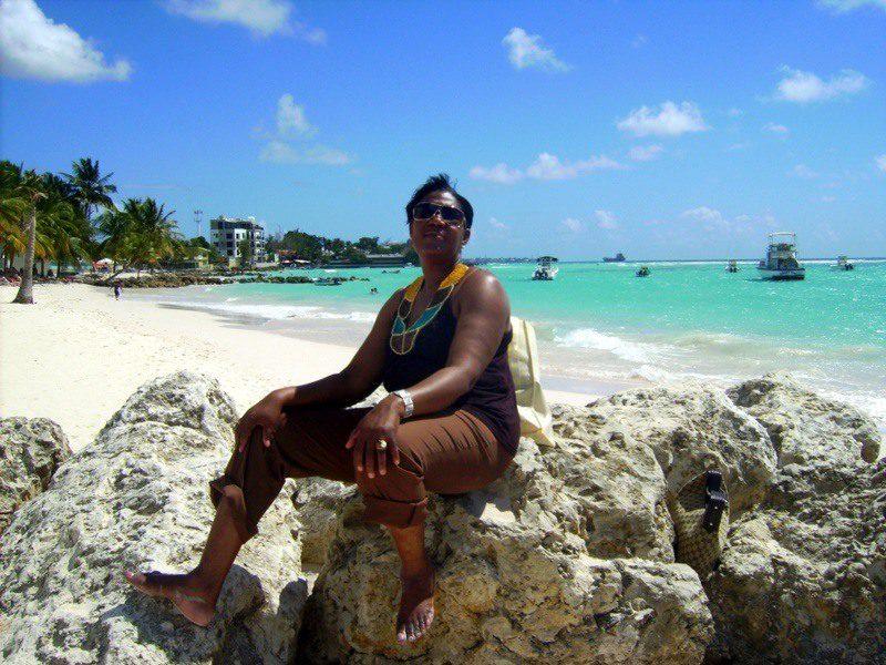 Freda on a Caribbean beach!