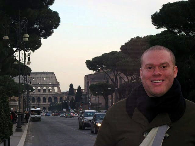 In Rome, Italy with the famous Colosseum behind.