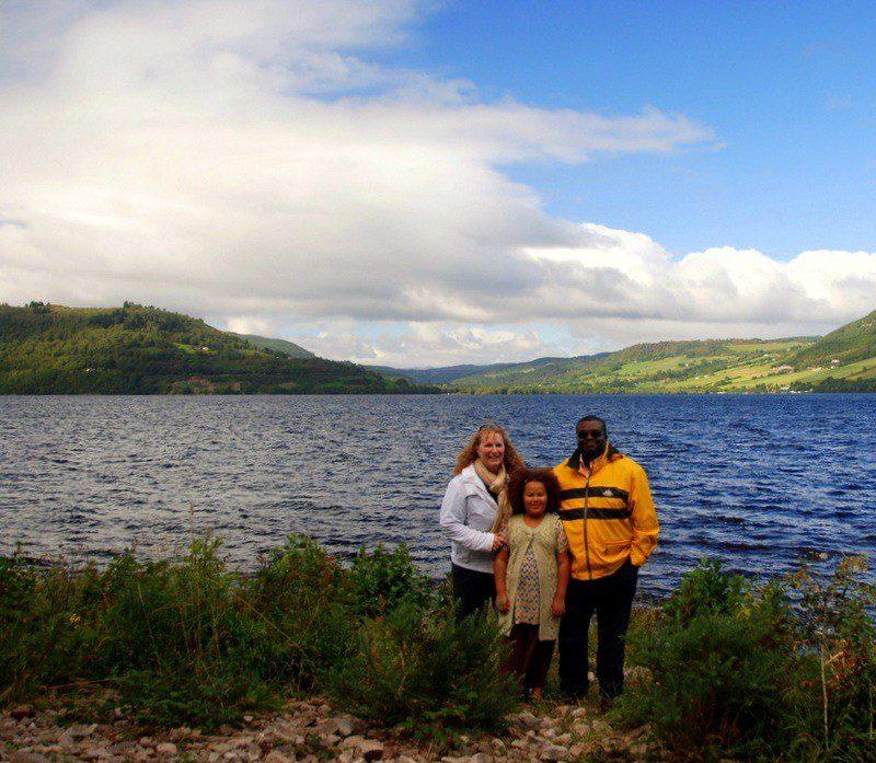 Jessie's family on Loch Ness, across from Urquhart Castle.