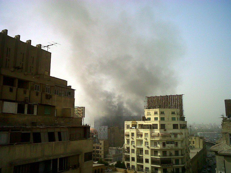 A building set on fire during Cairo, Egypt protests.