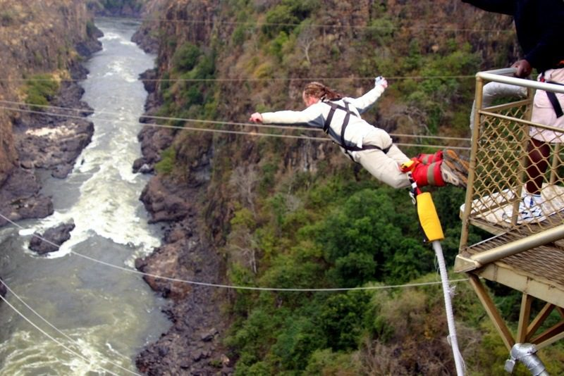 The brave teacher bungee jumping in Victoria Falls, Zimbabwe!!!