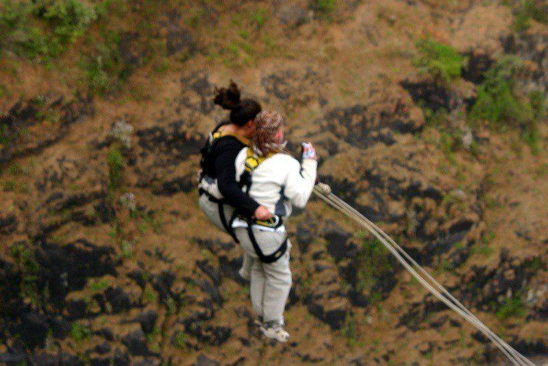 A terrifying tandem bungee jump in Victoria Falls, Zimbabwe.