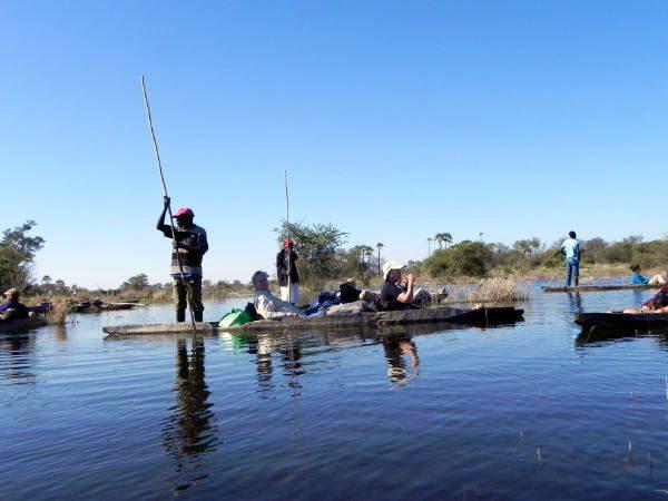 A makoro, traditional dugout canoe, in Okavango Delta, Botswana.