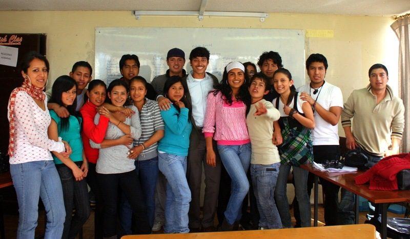 Krishna with English students in Ecuador.