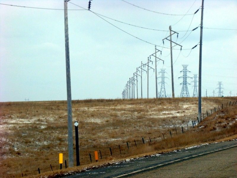 The area surrounding Crow Creek is very remote and empty. The biggest structures are these power lines coming from the dam in Big Bend.