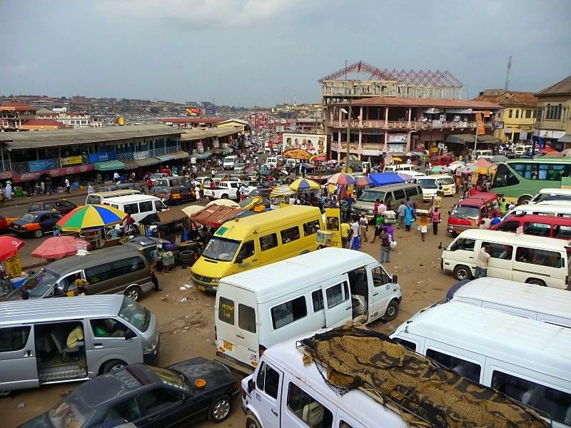 The Tro Tro (shared van transport) Station in Kumasi.