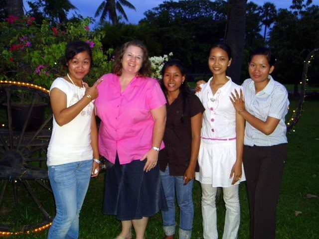 End of Term Certificate Presentation with two of Nikki's top students in Cambodia, July 2007. The one on her right is now completing a master's degree in New Zealand, while the one on the right is managing an organization for women's resources.