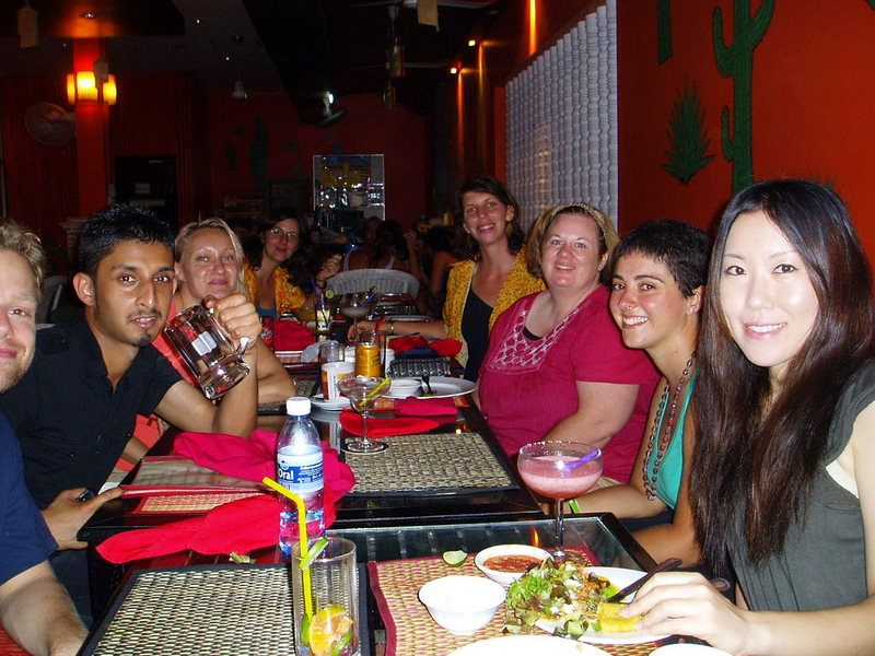 CouchSurfing group dinner in Siem Reap during the Cambodian New Year, April 2011.