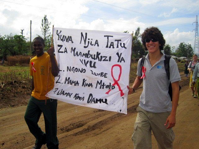 A World AIDS Day march in Singe, Tanzania.