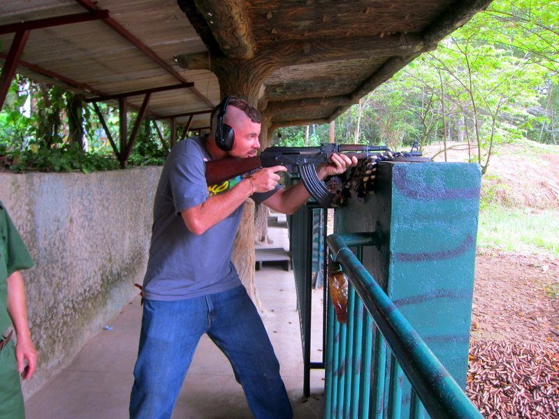 Shooting a few rounds of the AK-47 is a must do when touring the Cu Chi Tunnels in Vietnam. Such a thrill!