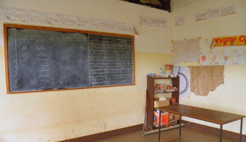 A first grade classroom in Tanzania.