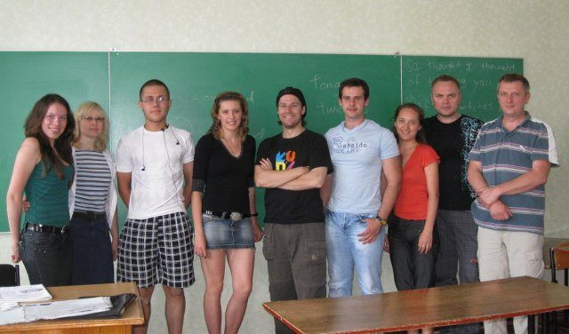 Steven's Level 5 English class in Kharkiv, Ukraine.