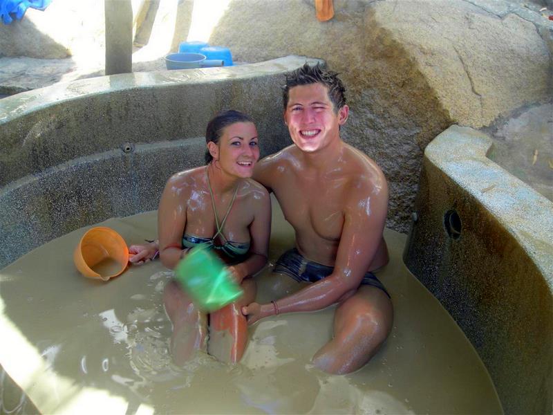 Michelle and her boyfriend in Vietnam mud baths.