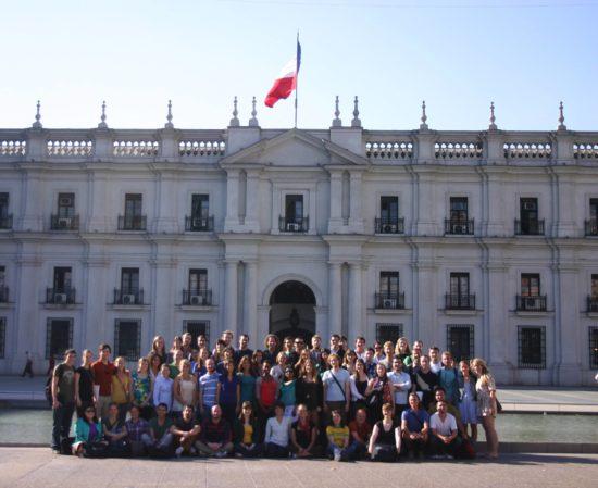 Happy volunteer teachers posing in Chile.