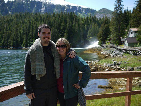 Mike and Lindsay enjoying the hot springs in Alaska, 2010.