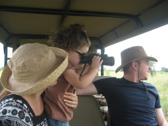 Rose looking at animals on safari in South Africa. So cute!