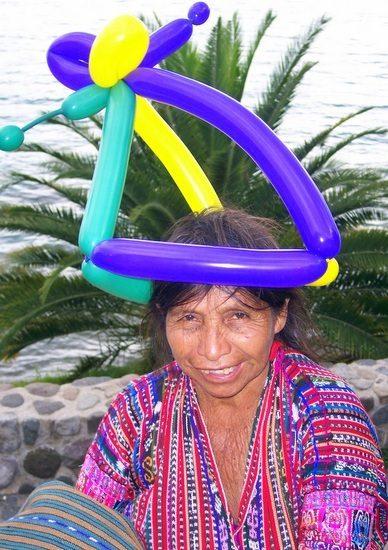 Balloon hat in Guatemala.