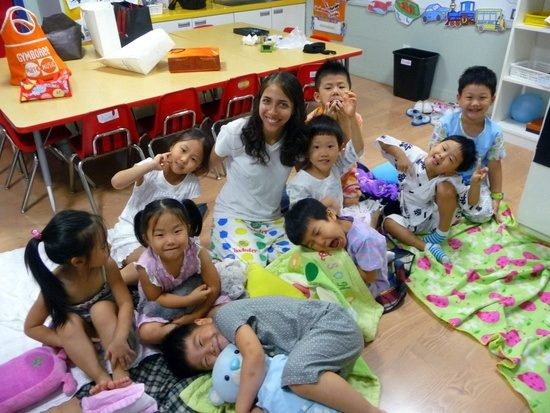 """On """"Pajama Day"""" with class in South Korea. So cute!"""
