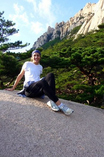 Climbing Seoraksan in South Korea.