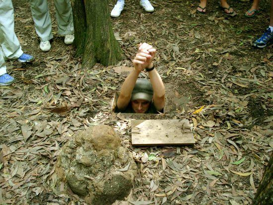 Chris in the Cu-Chi tunnels in Vietnam from the war.