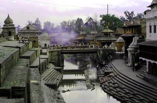 The amaranthine cremation ghats of Kathmandu, Nepal.