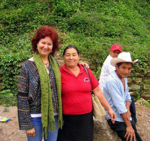 Jill with colleagues in Honduras, where she leads a school.