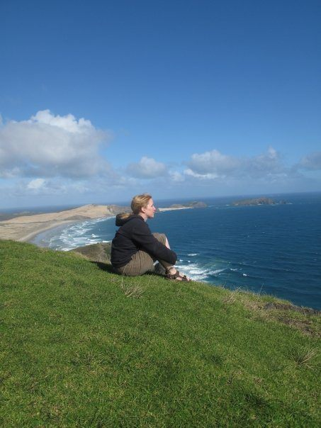 Sarah at Cape Reinga in New Zealand with a Global Journeys group.