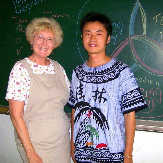 Marilyn with one of her students while teaching in China.