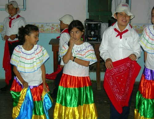 Students in Costa Rica getting ready to perform a traditional dance.