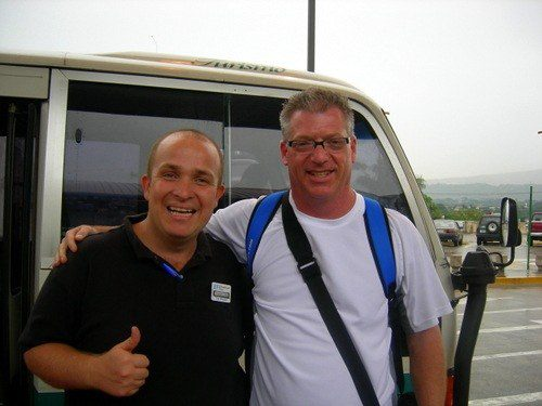 """Scott with his """"Awesome EF tour guide!"""" for his Costa Rica travel."""