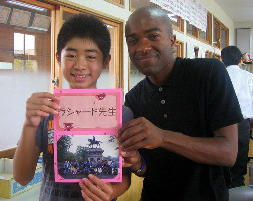 With a gift from a student at Rashaad's school in Tsuruoka, Japan.