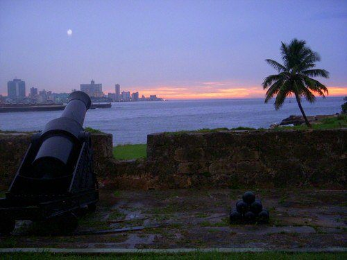 The full moon rises over Havana, Cuba.