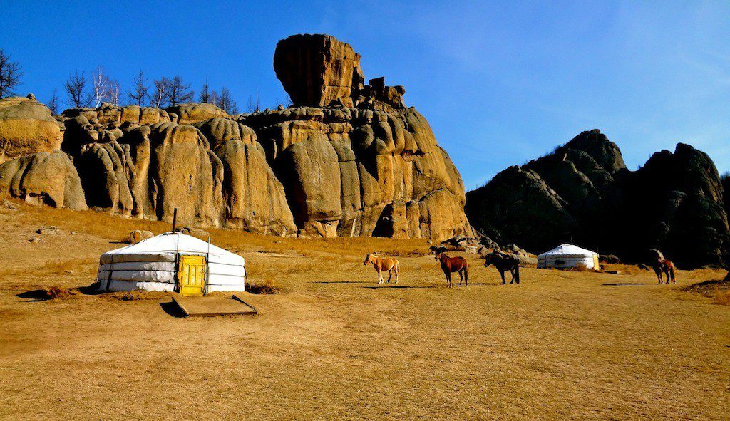 Rory's home when living in a Ger Tent in Terelj National Park, Mongolia.