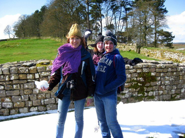 Two of Gail's students getting ready for a snowball fight at Hadrian's Wall.