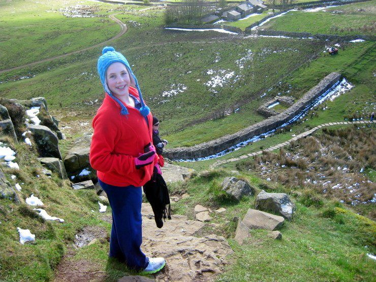 Gail's hiking companion along Hadrian's Wall: her youngest student.