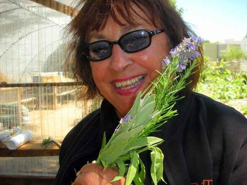 Travel writer teacher Jacqueline in her garden.