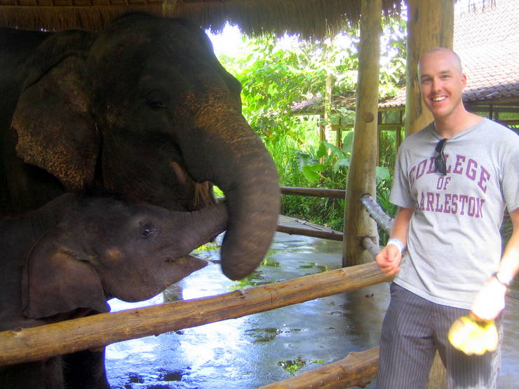 With elephants in Bali!