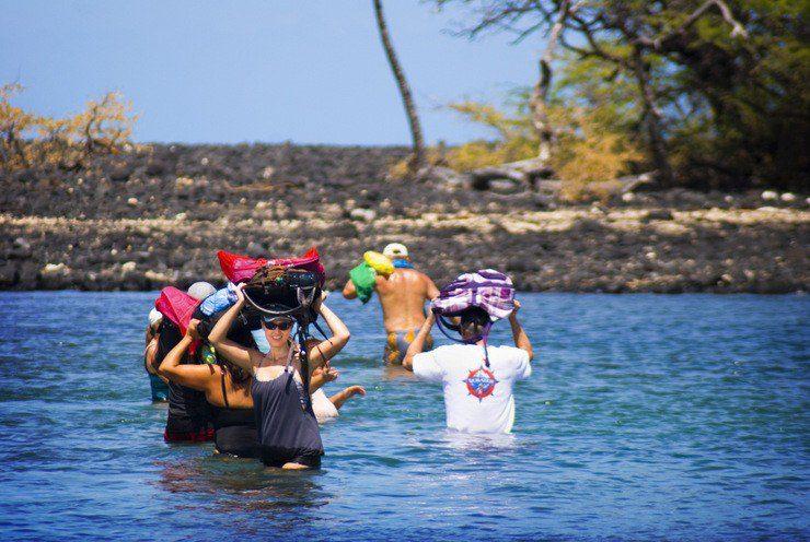 Steve's travel group during a Water Safari to Turtle Lagoon on the Big Island, Hawaii.