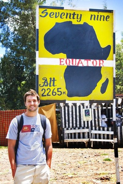 Steve at the equator on his travel club's trip to Kenya.