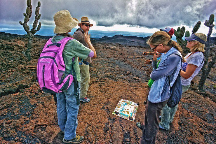 Chill Expeditions Team exploring Volcan Chico, Galapagos.